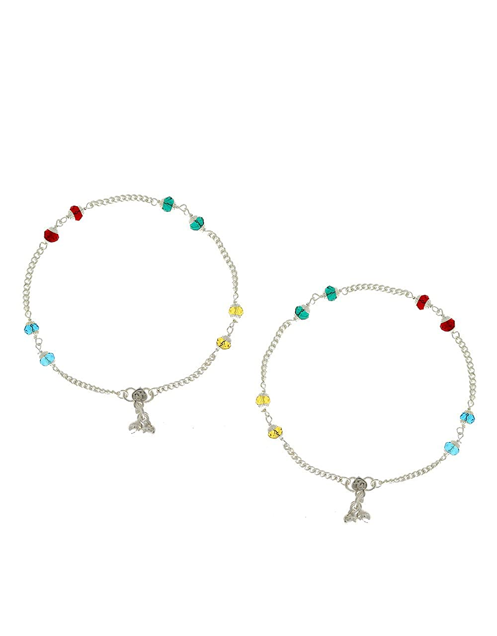 Anuradha Art Multi Colour Styled with Crystal Beads Wonderful Anklets//Payal for Women//Girls