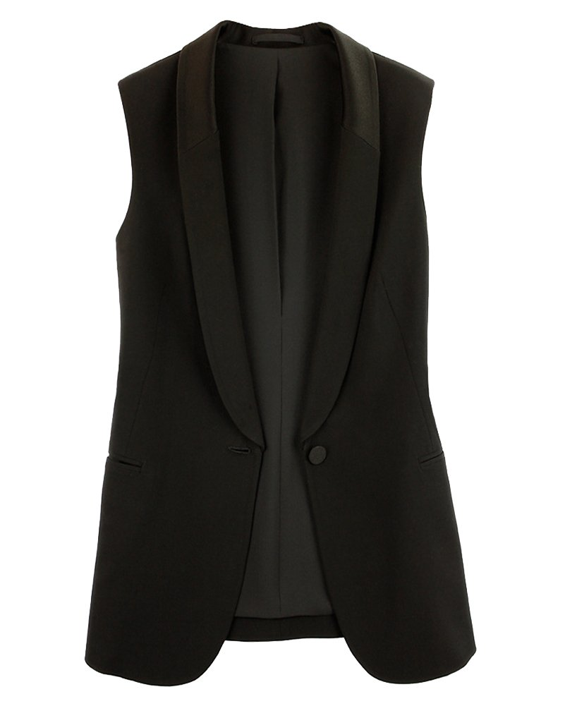 LaoZanA Women Casual One Buckle Chiffon Sleeveless Blazer Jacket Suit Business Long Vest with Pocket Wasitcoat