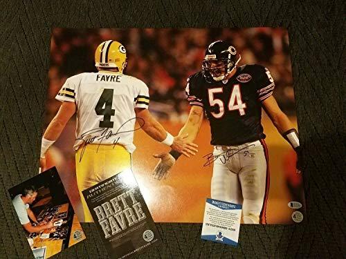 Green Bay Packers Brett Favre Bears Urlacher Autographed Signed Autograph 16x20 Photo Beckett Coa