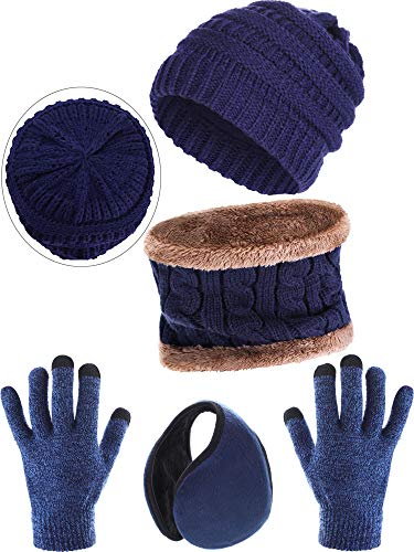 (Blulu 4 Pieces Ski Warm Set Includes Winter Beanie Hat Circle Scarf Outdoor Gloves and Ear Warmer for Adults Kids (D))