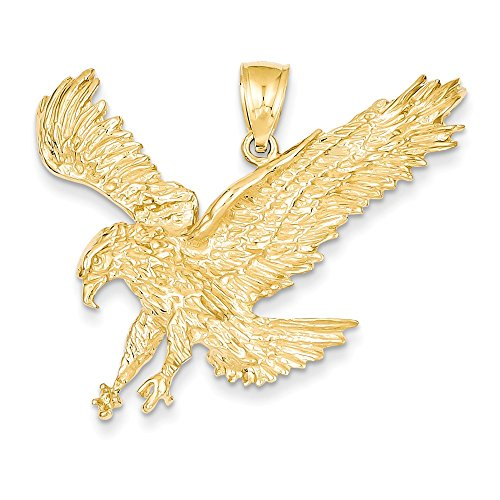 14k Yellow Gold Large 2D Landing Eagle Pendant