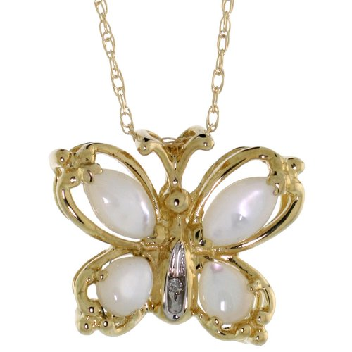 (10k Yellow Gold Mother of Pearl Butterfly Necklace Diamond accent 5/8 inch (15 mm) wide)