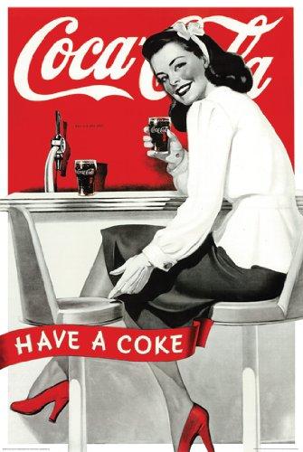 Hot Stuff Enterprise Z61-24x36-NA Coca Cola Vintage Ad Style Poster, 24 x 36
