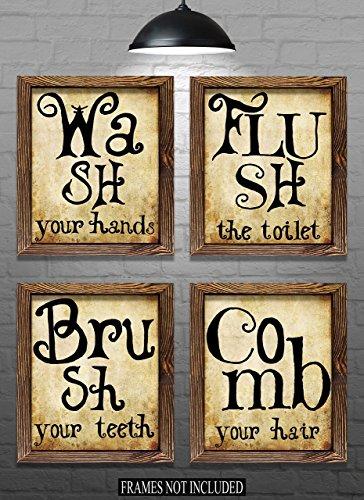 Bathroom Wall Decor - Bathroom Phrase Art Prints - Set of Four 8