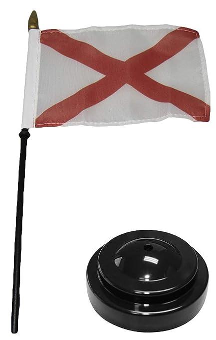"""Alabama State Flag 4/""""x6/"""" Desk Set Table Stick Black Base"""