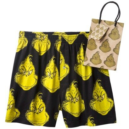 Men's Grinch Boxers With Free Gift Bag - Black/Green , Size Small