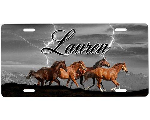 (onestopairbrushshop Horses License Plate)