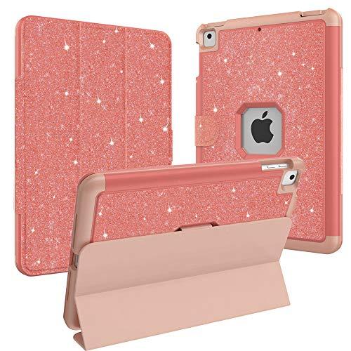 (CLARKCAS Glitter iPad 9.7 2018 Case,iPad 2017 Case,Three Layers Heavy Duty Full Protective Silicone iPad Case Cover for iPad Air,iPad Air 2,iPad Pro 9.7(Pink Glitter))