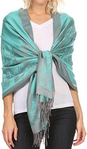 Sakkas CLDHS153 - Ella Dogwood Flower Straight Border Pashmina/ Shawl/ Wrap/ Stole - Turquoise Grey - OS