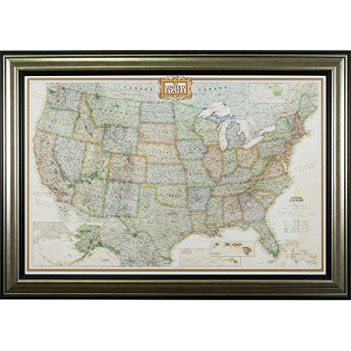r, Executive United States Push Pin Travel Map, Antique Silver and Black Frame with Pins, 24 by 36-Inch ()