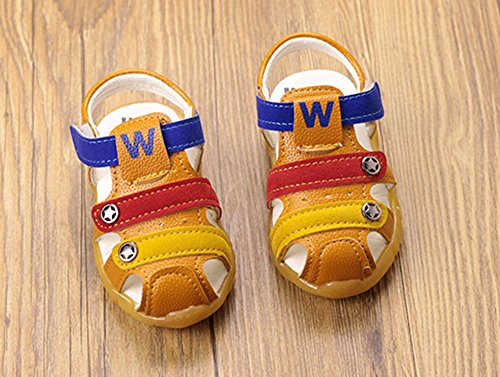 huateng Frühlings-Sommer-Jungen-Mädchen-Schuhe, Moderne Weiche Jungen-Sandelholze IM Freien Baby-Weiche Sohlen-Schuhe Erste gehende Schuhe Gelb