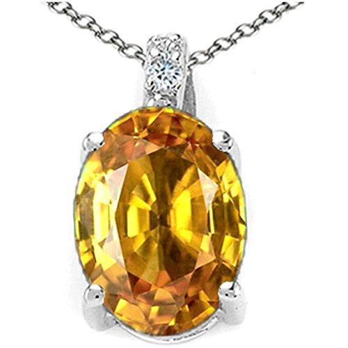 Gold Round Citrine Pendant (Tommaso Design Oval 10x8mm Genuine Citrine Pendant Necklace 14 kt White Gold)