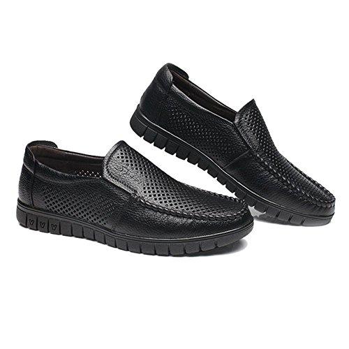 Perforación De Zapatos Único Opcional Slip Genuino perforación Suave Holgazán Bk Cuero Los on Clásicos Piso Hombres 6xCFpS