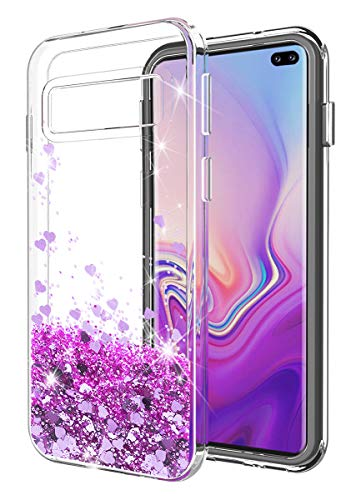 Galaxy S10 Plus case SunStory Luxury Fashion Design with Moving Shiny Quicksand Glitter and Double Protection with PC layer and TPU Bumper Case for Samsung Galaxy S10 Plus/S10+ Phone (Purple)