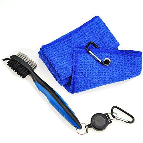Mile High Life Microfiber Waffle Pattern Golf Towel | Club Groove Cleaner (Blue Towel/Blue Brush)