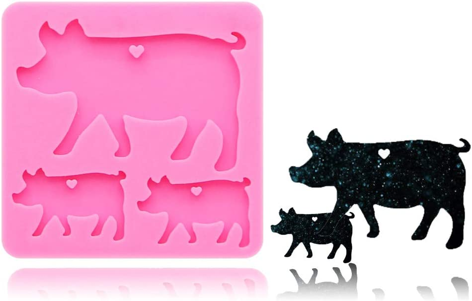Pig Mother Baby Keychain Silicone Mold with Hole for DIY Cupcake Decoration Pudding Chocolate Jelly Shots Fondant Mold Ice Cube Crystal Candy Handmade Ice Cream Soap Mould Desserts Gum Paste
