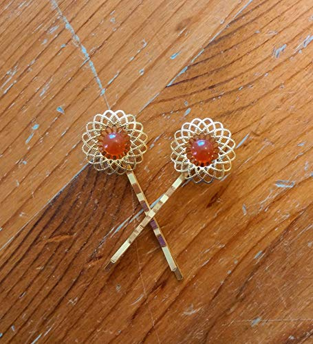 Sunny Filigree Carnelian Gold Hair Clips - Set of two high quality bobby pins for spring 2019 - eco jewelry
