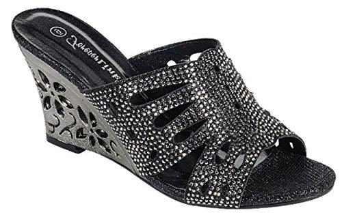 Prom Wedge Simone Delicacy Womens Heel Sandal Shoes Glitters 30 Black Toe Rhinestones Peep Dressy H0RwUpfqwg