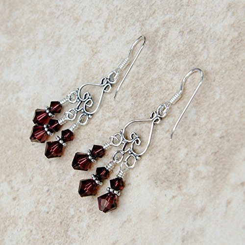 Amazon burgundy and bali sterling silver chandelier earrings burgundy and bali sterling silver chandelier earrings with swarovski crystals aloadofball Gallery
