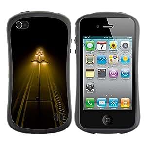 Fuerte Suave TPU GEL Caso Carcasa de Protección Funda para Apple Iphone 4 / 4S / Business Style Street Lights Night Yellow Road