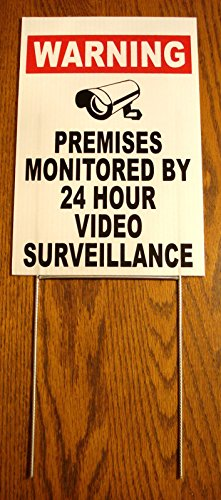 1Pc Glistening Unique Security Yard Signs Anti-Robber Surveillance Warning Alarm Lawn Premises Monitored Video Hr Reflective Fence Property Stakes Sign Neighbor Trespassing Size 8' x 12' with Stake