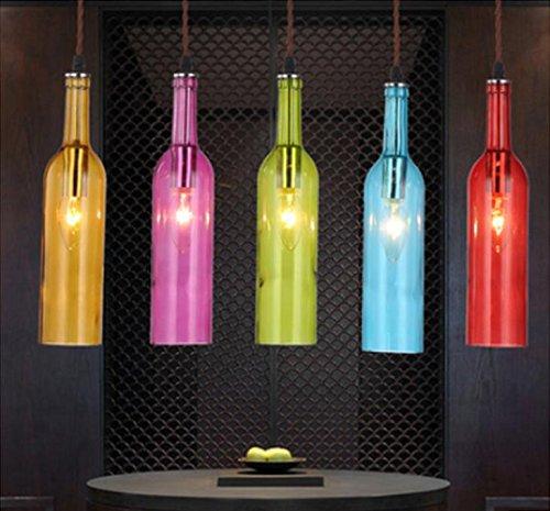 YQQ Restaurante americano Cafe araña, colgante barra de iluminación vidrio color botella de color la