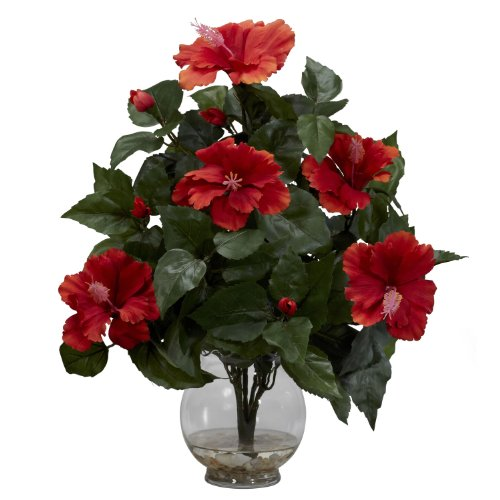 Nearly Natural 1279 Hibiscus with Fluted Vase Silk Flower Arrangement, Orange ()
