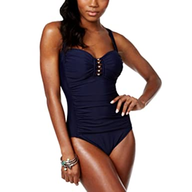 0227c664162e79 Swim Solutions Shirred Tummy-Control One-Piece Swimsuit, Navy, Size ...
