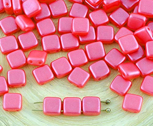 Tile Valentine (40pcs Pearl Shine Rose Valentine Pink Tile Flat Square 2 Two Hole Czech Glass Beads 6mm)