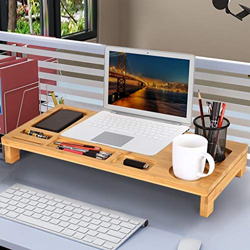 Shan-S Bamboo Monitor Stand Desktop Riser Desk with Storage Organizer Laptop Stand Desktop Container for Cellphone,Cup, Papers, Stapler TV Printer Stand Bamboo Wood Natural