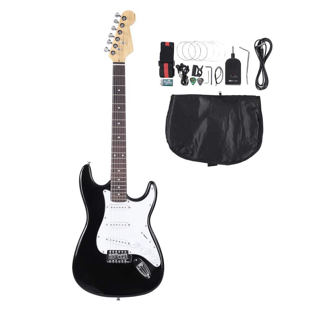 Guitarra eléctricas, 39 Pulgadas Guitarra Electrica 6 Cuerdas Diapasón Palisandro Electric Guitar Set con Principiante púas de Guitarra Eléctrica Bolsa de ...