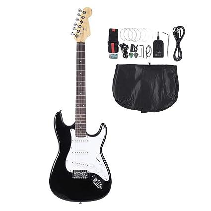 Guitarra eléctricas, 39 Pulgadas Guitarra Electrica 6 Cuerdas Diapasón Palisandro Electric Guitar Set con Principiante
