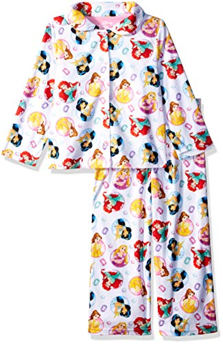 Disney Girls' Big Multi-Princess 2-Piece Pajama Coat Set, Mirrored, 10