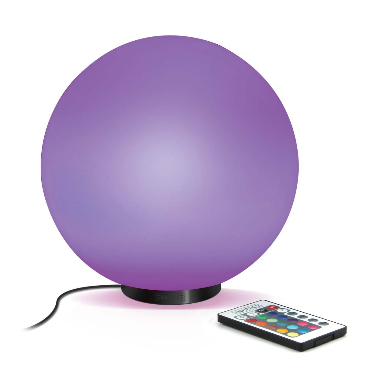 """Enhance Color Changing Mood Light 7.9"""" Energy Lamp with Remote, Battery or AC Adapter Power & Glass Design- Perfect for Yoga, Meditation, Therapy & More"""