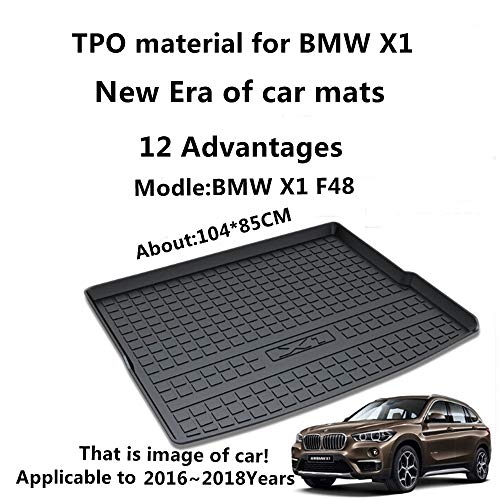 AUNAZZ/Trunk Mat Cover For BMW X1 F48 2016 2017 2018 Rubber Rear Trunk Cargo Liner Trunk Tray Floor Mat Cover 1 ()