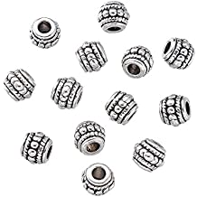 Pandahall 20-piece Antique Silver Alloy Tibetan Style Barrel Beads, Lead Free and Cadmium Free & Nickel Free 8x6.5mm Hole: 3mm