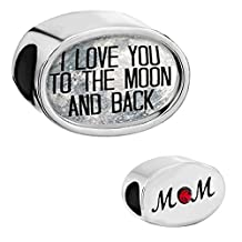 Charmed Craft I Love You To The Moon and Back Heart Silver Plated Photo Beads For Charm Bracelet