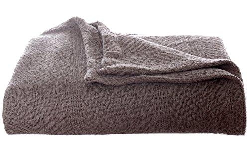 Eddie Bauer 200614 Herringbone Cotton Blanket, King, Mushroom