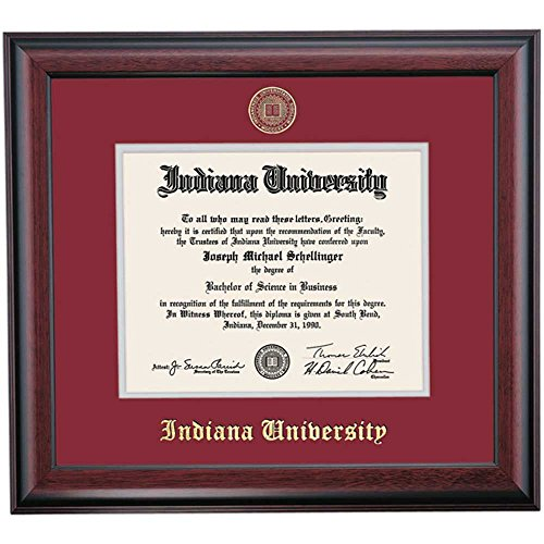 Indiana Hoosiers Diploma Frame Crimson Gray Matting Embossed Seal by Campus Linens