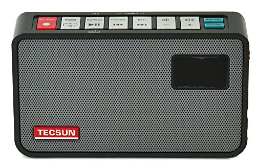 Tecsun ICR-100 4-in-1 Pocket FM Radio with ETM Tuning, Digital Recorder, MP3 Player with Built-in Micro SD Card Slot & Portable Hi-Fi Speaker with DSP Bass for Desktop & Laptop Computers, Color Black