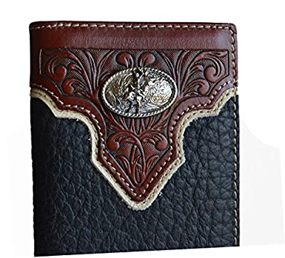 Mens Black Bull Rider Concho Western Long Wallet