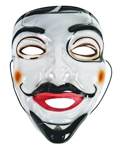 Man Handlebar Mustache PVC Clear Transparent Halloween Costume Mask - The Purge