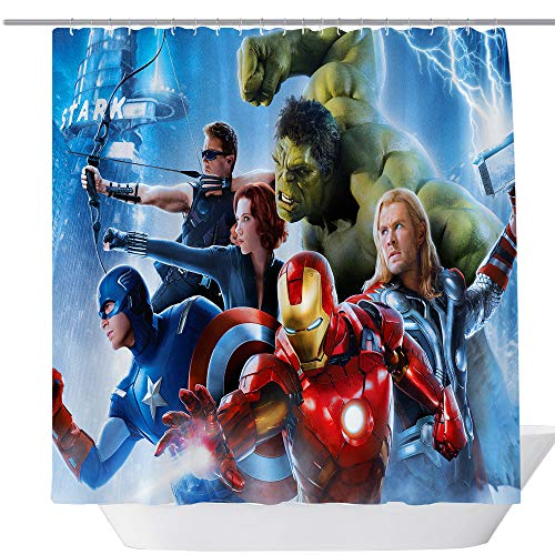 - Avengers Movie Shower Curtain,Popular Shower Curtain,Fabric Shower Curtains for Bathroom,Contemporary Bathroom Curtains,Print Waterproof Polyester Shower Curtain,71 x 71in