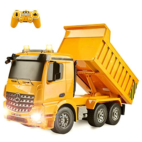 DOUBLE  E Remote Control Dump Truck 8 Channel Fully Functional 4WD Mine Engineer RC Construction Vehicle with Lights and Sounds