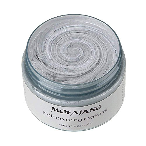 MOFAJANG Unisex Hair Wax Color Dye Styling Cream Mud, Natural Hairstyle Pomade, Washable Temporary,Party Cosplay (Ash Matte Grey) -