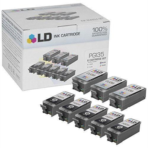 LD © Canon Pixma iP100 Compatible Set of 8 Ink Cartridges: 5 Black PGI35, 3 Color - Mail Tracking Ups Priority