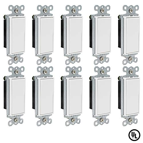 ESD Tech 15 Amp Rocker Paddle Light Switches, 10 Pack, 120V Single-Pole AC Decorator Quiet Wall Switch, Residential/Commercial Grade, White, UL Listed, Standard Size