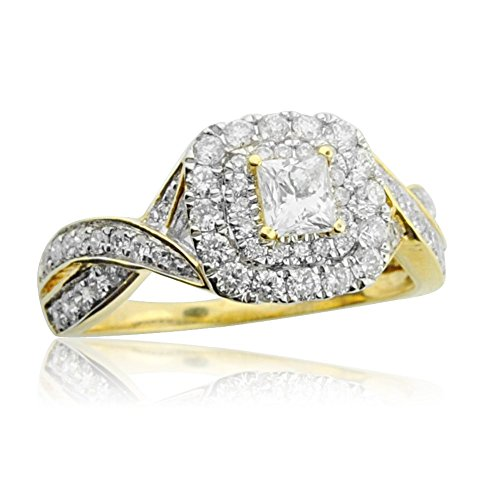 14K Gold Princess Cut Engagement Ring 1.00ctw Diamonds Double Halo 9mm Wide(i2/i3, i/j) (20ct Princess Cut Diamond)