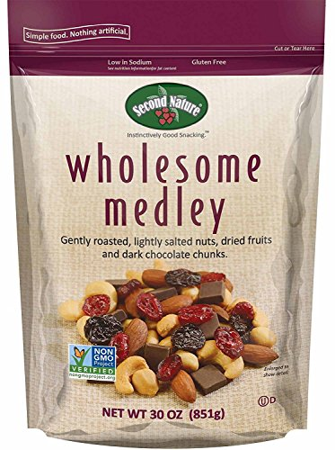 Second Nature Wholesome Medley Trail Mix 30 Ounce Resealable Pouch - Assortment of Almonds, Cashews, Peanuts, Dried Cherries, Cranberries and Dark Chocolate - Non GMO Project Verified -