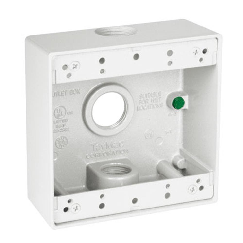 TayMac DB375WH 3/4-Inch 3 Hole 2-Gang Weatherproof Box, 3/4-Inch Outlets, White